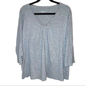 Basic Editions Top Soft Knit Cotton Henley Gray
